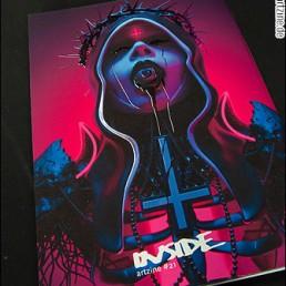 cover INSIDE artzine 21; neon nun, eye in mouth, dark art