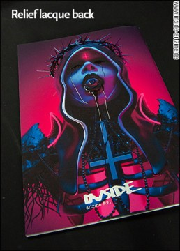 cover INSIDE artzine 21; neon nun, eye in mouth, dark art