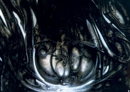 H.R. Giger, biomechanical landscape, airbrush, abstract nightmare, cable, dark art