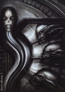 H.R. Giger, biomechanoid, skull on a worm, licking creatures, artscum, dark art