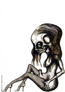 H.R. Giger, ink, high heels, stockings, dark art