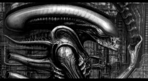 Giger, Alien, monster, movie, skull, dark art, science fiction classic