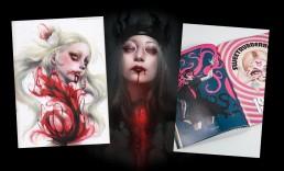 Cover, Bloodblister 4, japanese girls, illustrations, blood, dark art
