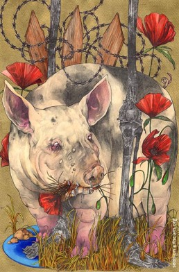 felix roca, pig with flower in mouth, dark art magazine