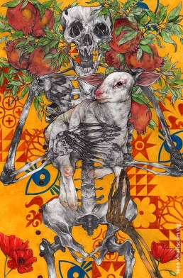 felix roca, scelett and flowers, dark art magazine