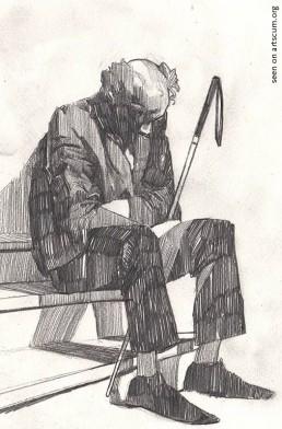 felix roca, sleeping man, pencil drawing, dark art