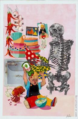 felix roca, scelett and child, dark art magazine