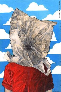 felix roca, plastic bag on head, dark art