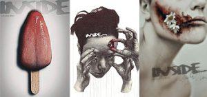 INSIDE artzine cover, dark art magazine
