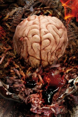 Poster, brain with flames, dark art
